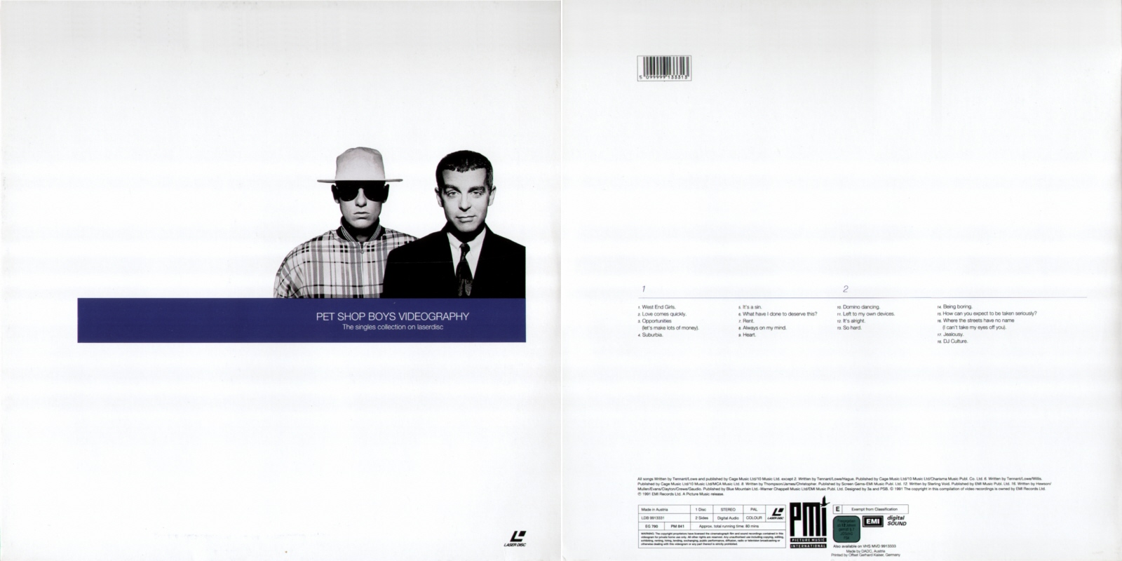 Videography - 12''LD: 1991 AT (Picture Music Int'l;